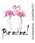 romantic watercolor design....   Shutterstock . vector #1134536717