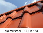 Closeup Of Red Clay Tile Roof...