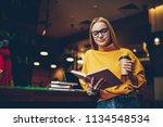 positive caucasian hipster girl ... | Shutterstock . vector #1134548534