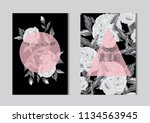 elegant cards with decorative... | Shutterstock .eps vector #1134563945