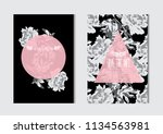 elegant cards with decorative... | Shutterstock .eps vector #1134563981