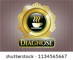 gold badge with coffee cup... | Shutterstock .eps vector #1134565667