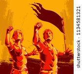 men and women protest fist... | Shutterstock .eps vector #1134581321