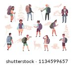 various active people with... | Shutterstock .eps vector #1134599657