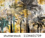 tropical palm grunge background ...   Shutterstock . vector #1134601739
