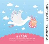 baby shower card. stork... | Shutterstock .eps vector #1134602897