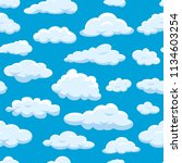 clouds seamless pattern on blue ...   Shutterstock .eps vector #1134603254