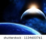 a beautiful space scene with...   Shutterstock . vector #1134603761