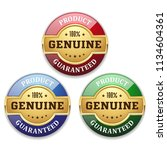 three golden genuine product... | Shutterstock .eps vector #1134604361