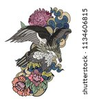 eagle flying tattoo.traditional ... | Shutterstock .eps vector #1134606815
