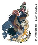 eagle flying tattoo.traditional ... | Shutterstock .eps vector #1134606821