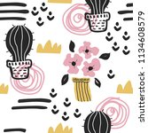 seamless pattern with cute... | Shutterstock . vector #1134608579