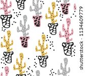 seamless pattern with cute... | Shutterstock . vector #1134609779