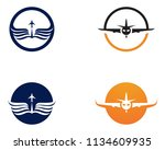 airplane fly logo and symbols...   Shutterstock .eps vector #1134609935