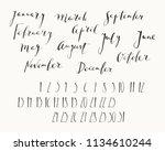 hand written ink calendar or... | Shutterstock .eps vector #1134610244