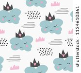 seamless cute pattern with... | Shutterstock . vector #1134610361