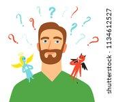 cartoon man making choice.... | Shutterstock .eps vector #1134612527