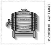 wooden barrel for beer  water... | Shutterstock .eps vector #1134613697
