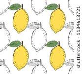 lemons. black and white... | Shutterstock .eps vector #1134613721