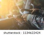 Man driver Truck. / Transportation Industry  - stock photo