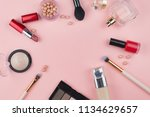 cosmetics and makeup brushes on ... | Shutterstock . vector #1134629657
