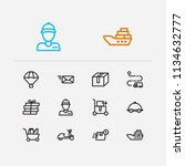 shipment icons set. email and...