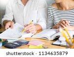 woman learn and teach tutor... | Shutterstock . vector #1134635879