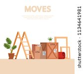 moving scene with boxes  stairs ... | Shutterstock .eps vector #1134641981