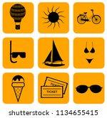 vector summer set of icons | Shutterstock .eps vector #1134655415