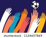 hands reaching for the football....   Shutterstock .eps vector #1134657869