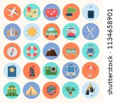 travel color flat icon set for... | Shutterstock .eps vector #1134658901