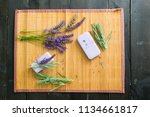 lavender soaps on bamboo cloth   Shutterstock . vector #1134661817