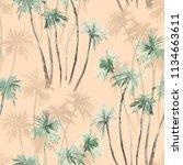 watercolor summer tropical... | Shutterstock . vector #1134663611
