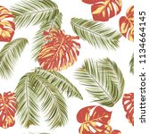 summer exotic floral tropical... | Shutterstock .eps vector #1134664145