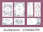 wedding card templates set with ... | Shutterstock .eps vector #1134666794