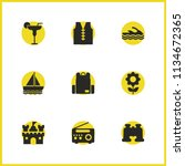 sunny icons set with backpack ...