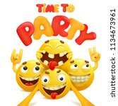 time to party card with group... | Shutterstock .eps vector #1134673961