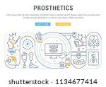 line banner of prosthetics.... | Shutterstock .eps vector #1134677414