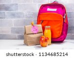 school lunch box and pink... | Shutterstock . vector #1134685214