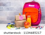 school lunch box and pink... | Shutterstock . vector #1134685217