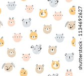cute hand drawn animal faces... | Shutterstock . vector #1134692627