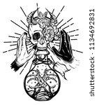 vector illustration. bottle of... | Shutterstock .eps vector #1134692831