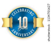 blue celebrating 10 years ... | Shutterstock .eps vector #1134701627