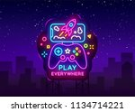gamepad and smartphone neon... | Shutterstock .eps vector #1134714221