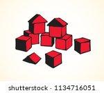 small magenta plastic kit set... | Shutterstock .eps vector #1134716051