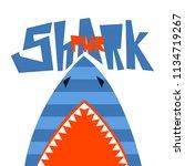 t shirt design shark power.... | Shutterstock .eps vector #1134719267