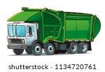garbage truck cartoon...   Shutterstock .eps vector #1134720761