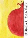 half of pomegranate on yellow... | Shutterstock . vector #1134743651