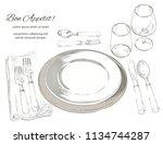 vector cutlery set  forks ... | Shutterstock .eps vector #1134744287