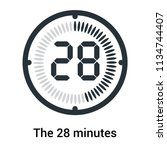 the 28 minutes icon isolated on ... | Shutterstock .eps vector #1134744407